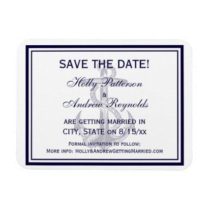 Nautical Anchor Navy Blue Framed 2 Save the Date Magnet