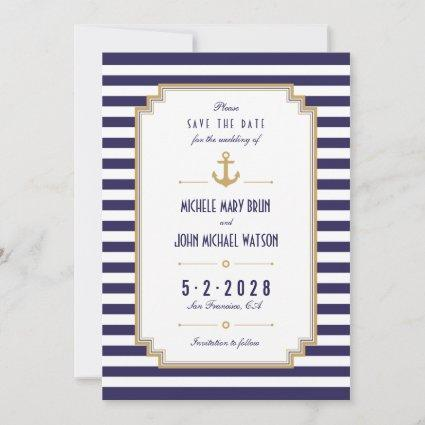 Nautical Anchor Save the Date Reminder Invitation