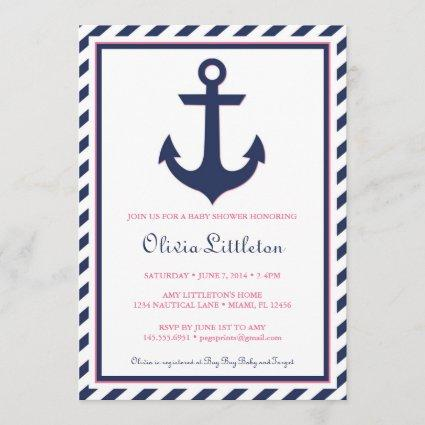 Nautical Baby Shower Invitation - Ahoy It's a Girl