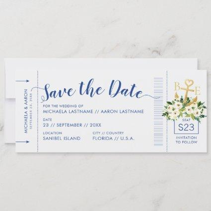 Nautical Cruise Wedding Boarding Pass Save Date Announcement