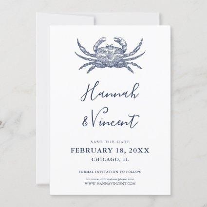 Nautical Navy Crab Save the Date Card