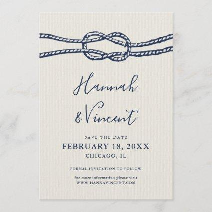Nautical Navy Knot Save the Date Card