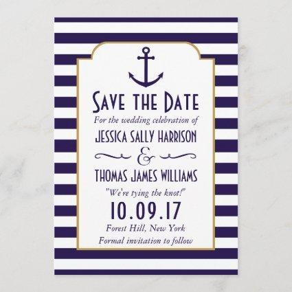 Nautical Navy & White Stripe Anchor Save The Date