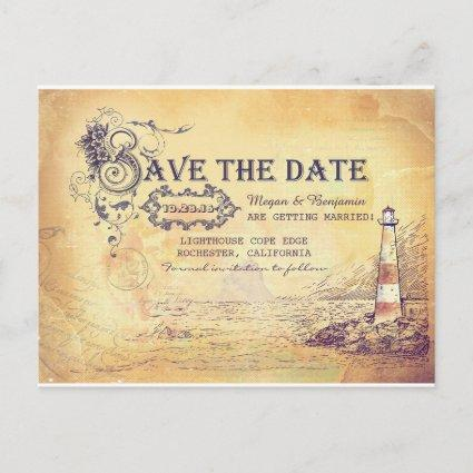 Nautical old vintage lighthouse save the date announcement