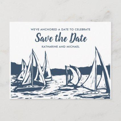 Nautical Sailboat Wedding Save the Date Announcement