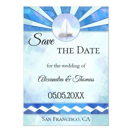 Nautical Save the Date Thin Magnetic Card