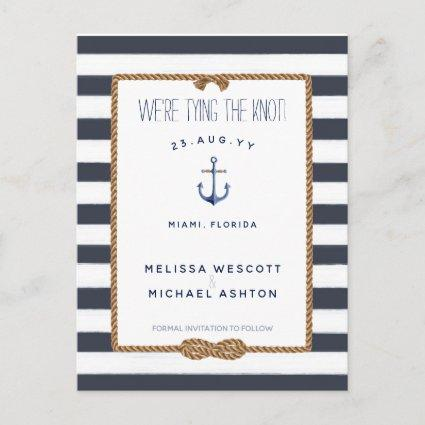 Nautical Tie the Knot Navy Blue Save the Date Announcement