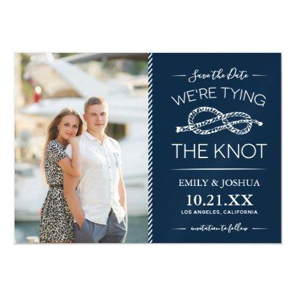 Nautical Tying the Knot Photo Save the Date Magnetic Invitation