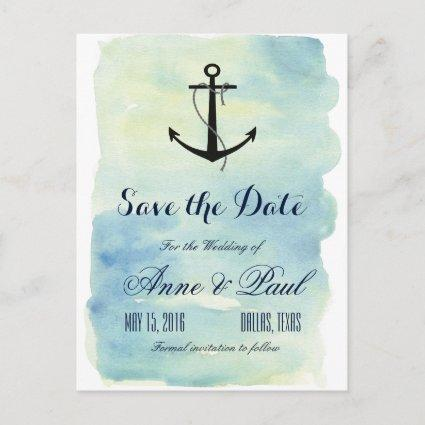 Nautical watercolor Save the Date Announcement