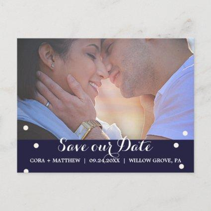 Navy and Beige Script Overlay Save the Date Photo Announcement