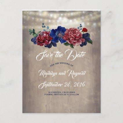 Navy and Burgundy Rustic Country Save the Date Announcement