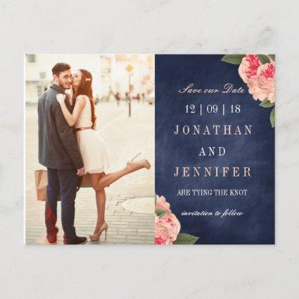 Navy and Coral Floral Save the Date Cards