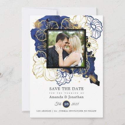 Navy and Gold Abstract Floral Wedding Photo Save The Date