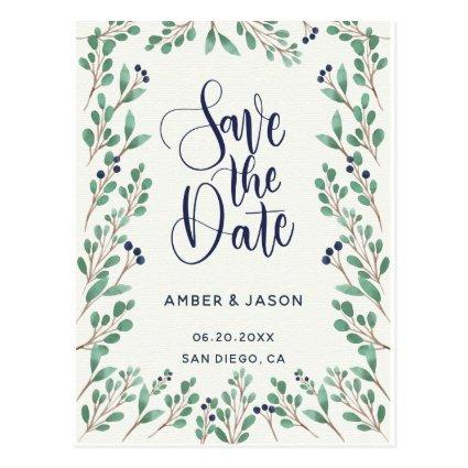 Navy and Gold botanical illustration Save the Date Cards