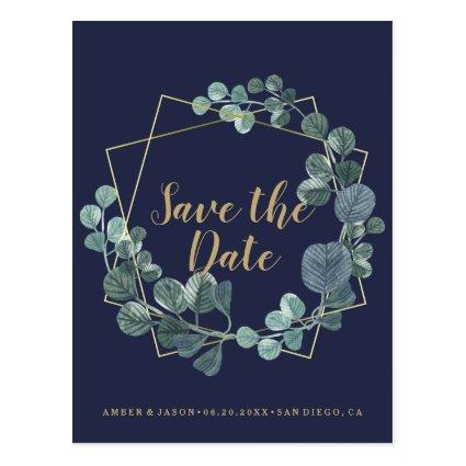 Navy and Gold terrarium botanical Save the Date Cards