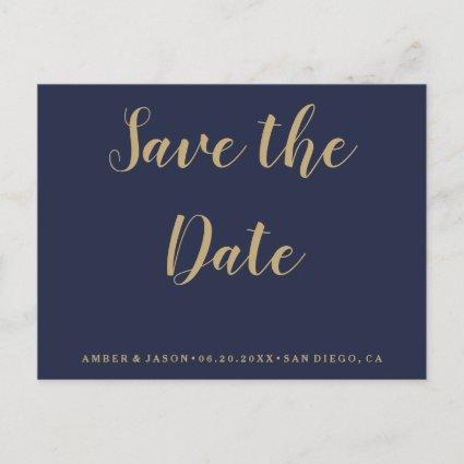 Navy and Gold Wedding Save the Date Announcement