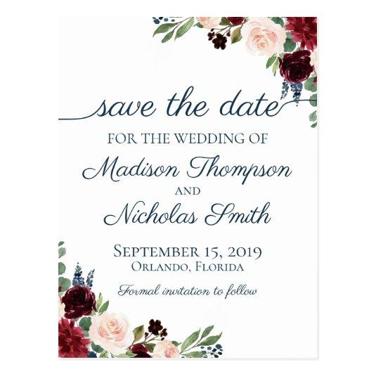 Navy and Marsala Floral Save the Date Cards