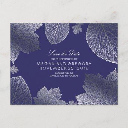 navy and silver leaves fall save the date announcement