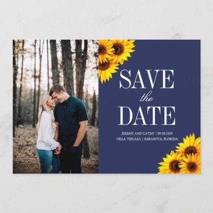 Navy and Yellow Sunflowers Save the Date