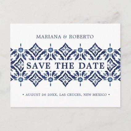 Navy Azulejo | Spanish Tile LACE SAVE THE DATE Announcement
