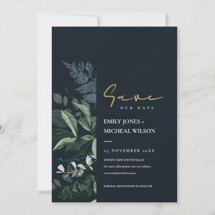 Navy Black Green Leafy Fauna Save The Date Invite