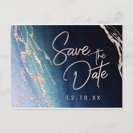 Navy Blue Agate Rose Gold Wedding Save the Date Announcement