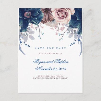 Navy Blue and Mauve Floral Save the Date Announcement