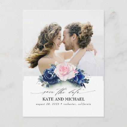 Navy Blue and Pink Flowers Save the Date Photo Announcement