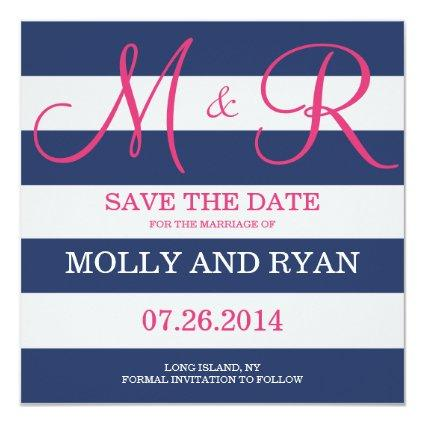 Navy Blue and Pink Monogram