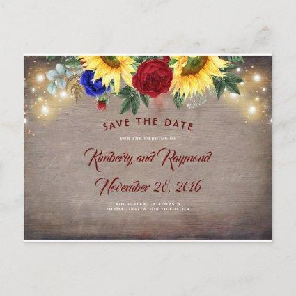 Navy Blue and Red - Sunflowers Fall Save the Date Announcement