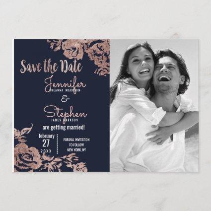 Navy Blue and Rose Gold Floral Save the Date