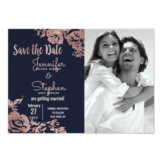 Navy Blue and Rose Gold Floral Save the Date Card