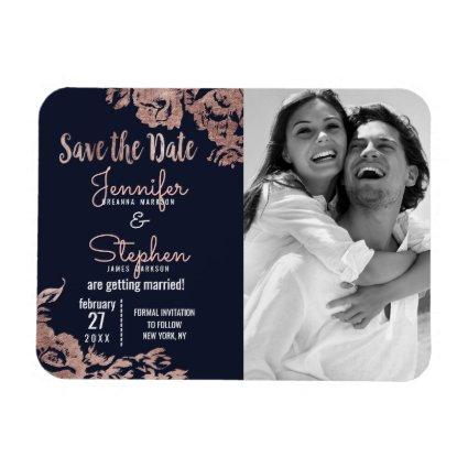 Navy Blue and Rose Gold Floral Save the Date Magnet
