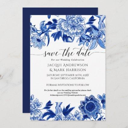 Navy Blue and White Asian Influence Chinoiserie Save The Date
