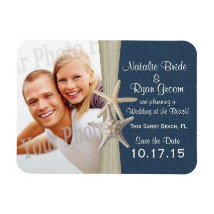 Navy Blue Beach Save the Date Magnets