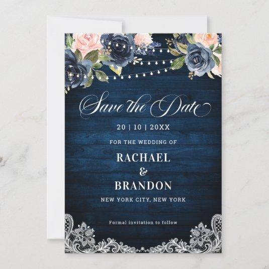 Navy Blue Blush Floral String Light Save the Date