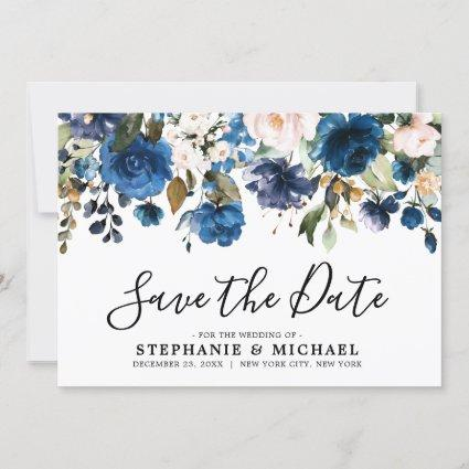 Navy Blue blush Florals Botanical Save the Date