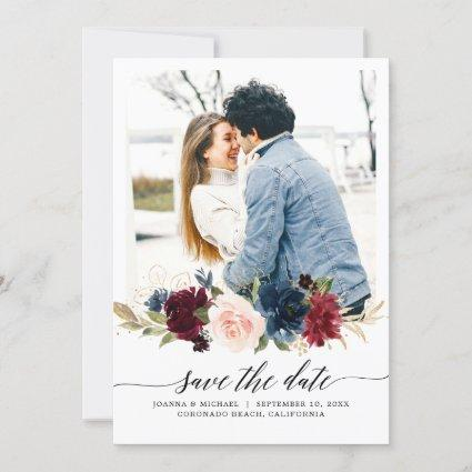 Navy Blue Blush Pink Burgundy Rose Photo Save The Date