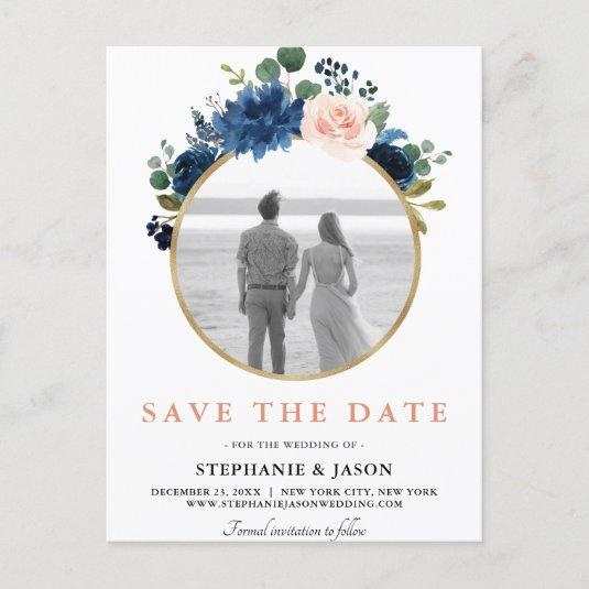 Navy Blue Blush Pink Rose Boho Save the Date Announcement