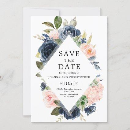 Navy Blue Blush Pink Rose Boho Wedding Save The Date