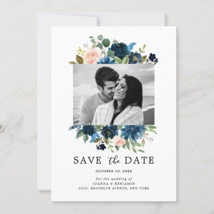 Navy Blue Blush Pink Rose Botanical Photo Save The Date