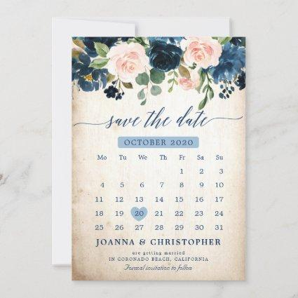 Navy Blue Blush Pink Rose Botanical Save the Date