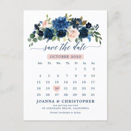 Navy Blue Blush Pink Rose Botanical Save the Date Announcement