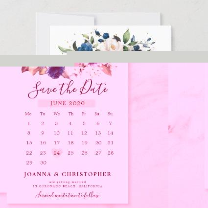 Navy Blue Blush Pink Rose Floral Calendar Save The Date