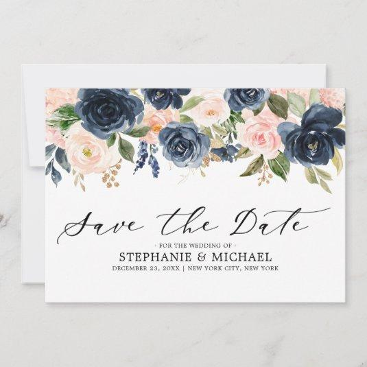 Navy Blue Blush Pink Rose Floral Save The Date