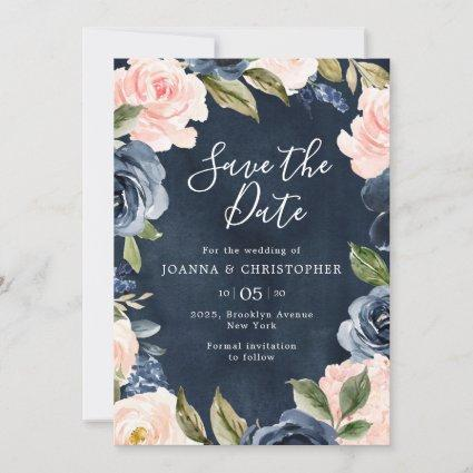 Navy Blue Blush Pink Rose Gold Boho Wedding Save The Date