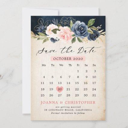 Navy Blue Blush Pink Rose Rustic country Calendar Save The Date