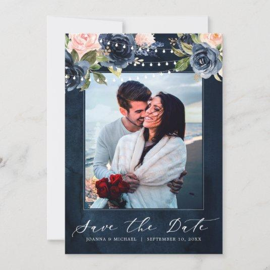 Navy Blue Blush Pink Rose String lights Photo Save The Date