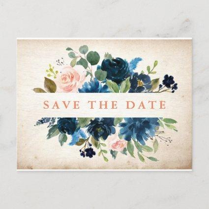 Navy Blue Blush Rose Rustic Boho Save the Date Announcement