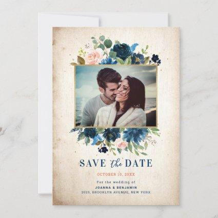 Navy Blue Blush Rustic Country Botanical Photo Save The Date